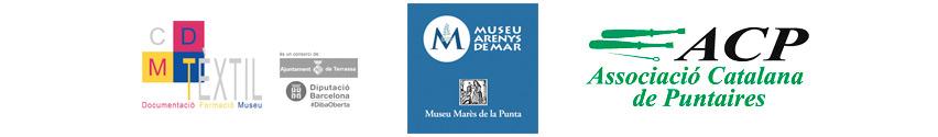 Imatge logos CDMT, Museu d'Arenys, i l'Associació Catalana de Puntaires