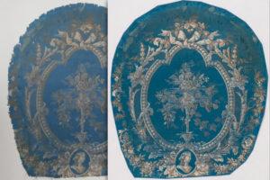 Imatge fragment de tapisseria d'una cadira.