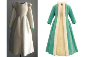 Imatge presentació final un cop acabat el maniquí d'un conjunt de vestit i abric de Cristóbal Balenciaga.
