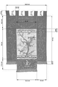 Imatge croquis penó de l'Agrupació ocellaire de Sant Hipòlit de Voltregà.