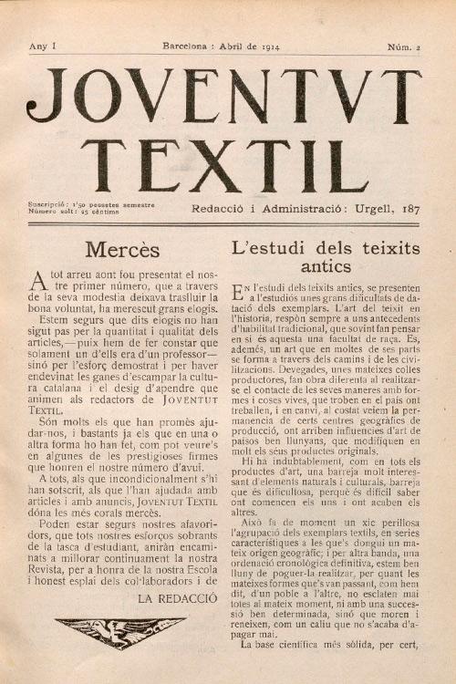 """Imatge portada revista """"Joventut tèxtil"""""""