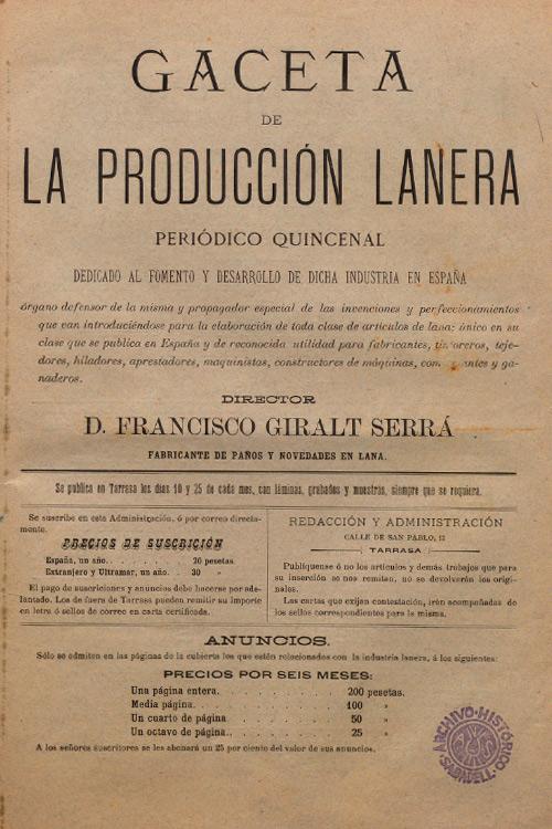 """Imatge portada revista """"Gaceta de la producción lanera"""""""